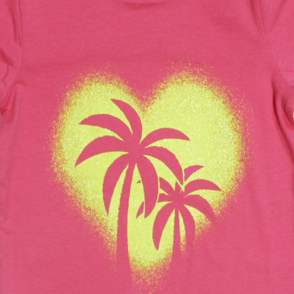 DOPO DOPO Glitter Heart Pink Girls Premium Cotton T shirt