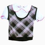 Kid Zone Black and  grey checks Vest tshirt