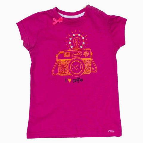 Selfie Hot Pink Girls Tshirt