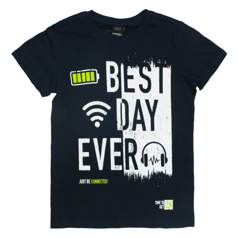 CHAPTER Young Best Day Blue Boys Premium Cotton Tshirt