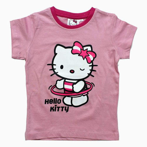 Hello Kitty Wink Glitter Print Baby Pink Girls Tshirt