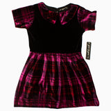 Gee Gee Girls Black and Pink Checks Valvet Polyester Dress
