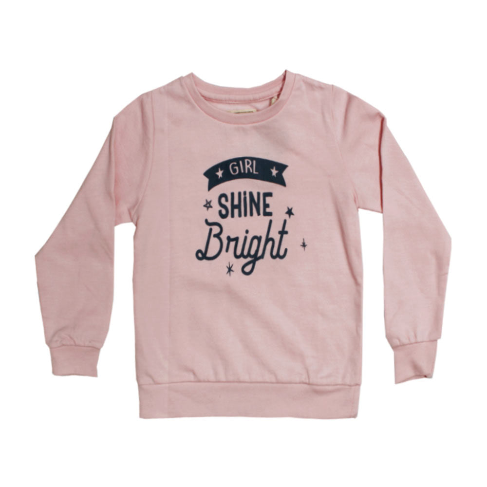UNIT Girl Shine Bright Pink Girls cotton Sweat Shirt
