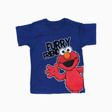 ELMO Furry Friend Flock Print Blue and Red Boys 2 Piece Set
