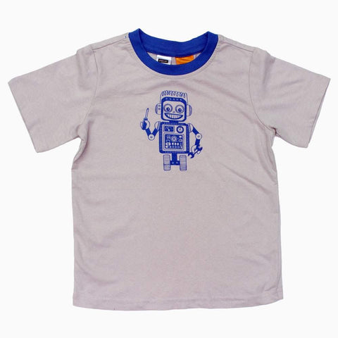 Robot print Light Grey Soft Cotton Boys Tshirt