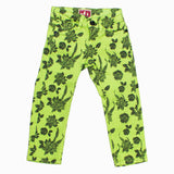 Akido Girls Garment Dyed All over Flower Printed Light Green Jeans