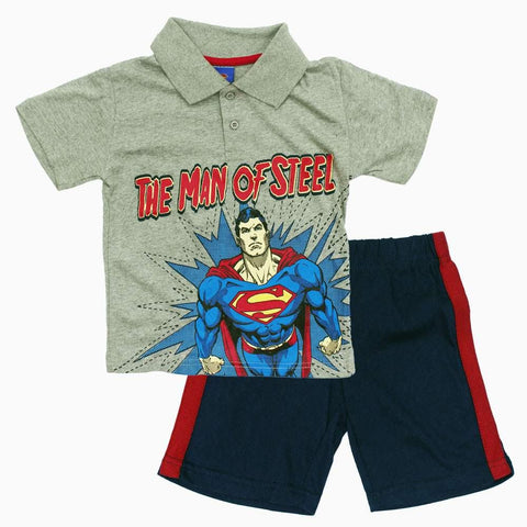 SuperMan Man of Steel Grey Boys 2 piece Set