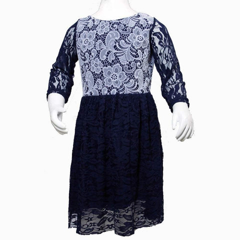 Navy blue flower net dress