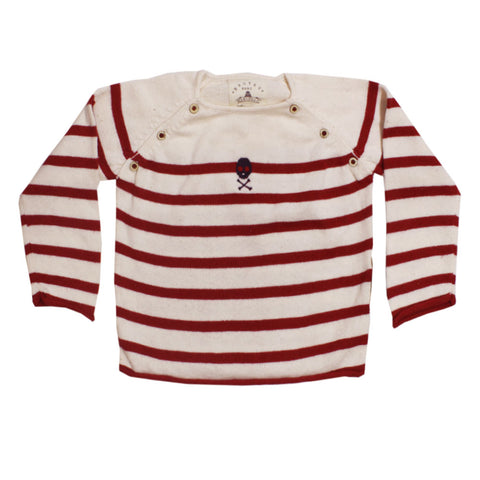 BROTES Red Strips Cream Boys Cotton Sweater