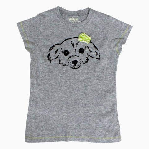 OshKosh Dog print bow applique Girls Grey Tshirt