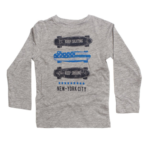 IN EXTENSO Keep Skating New York City Grey Boys Cotton Tshirt