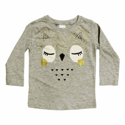 LITTLE WONDERS Face Glitter Print Grey Girls Premium Cotton Tshirt