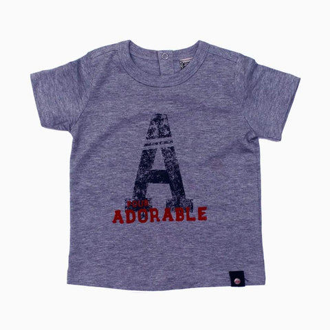 A for Adorable boys Grey Cotton Tshirt