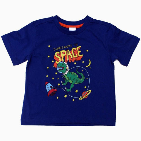 Dino in Space Boys Navy Blue Tshirt