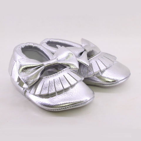ROMIRUS Silver Baby Soft Sole Tassel Leather Pre Walkers Moccasions Shoes