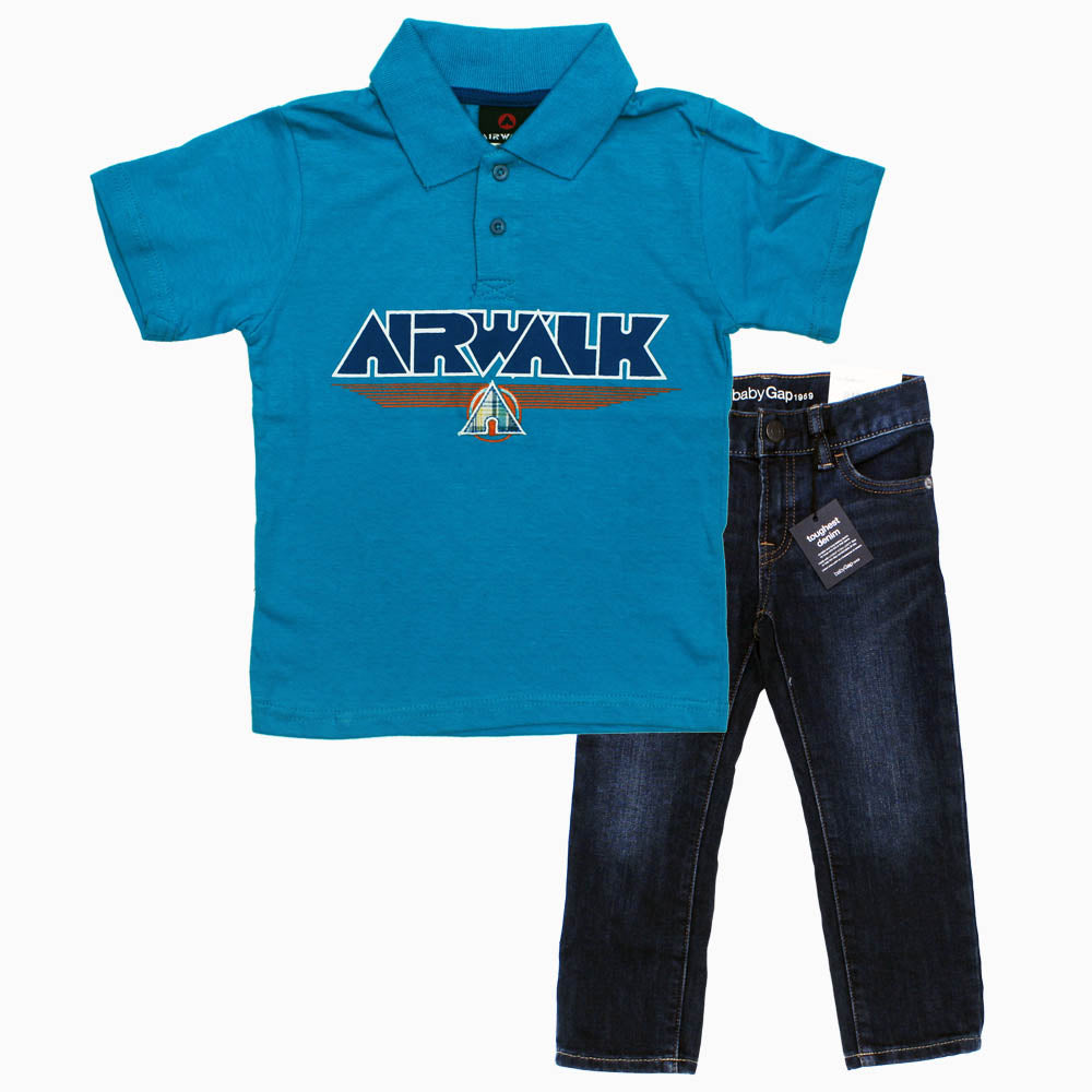 AIRWALK Boys Blue Cotton 2 Piece Bundle