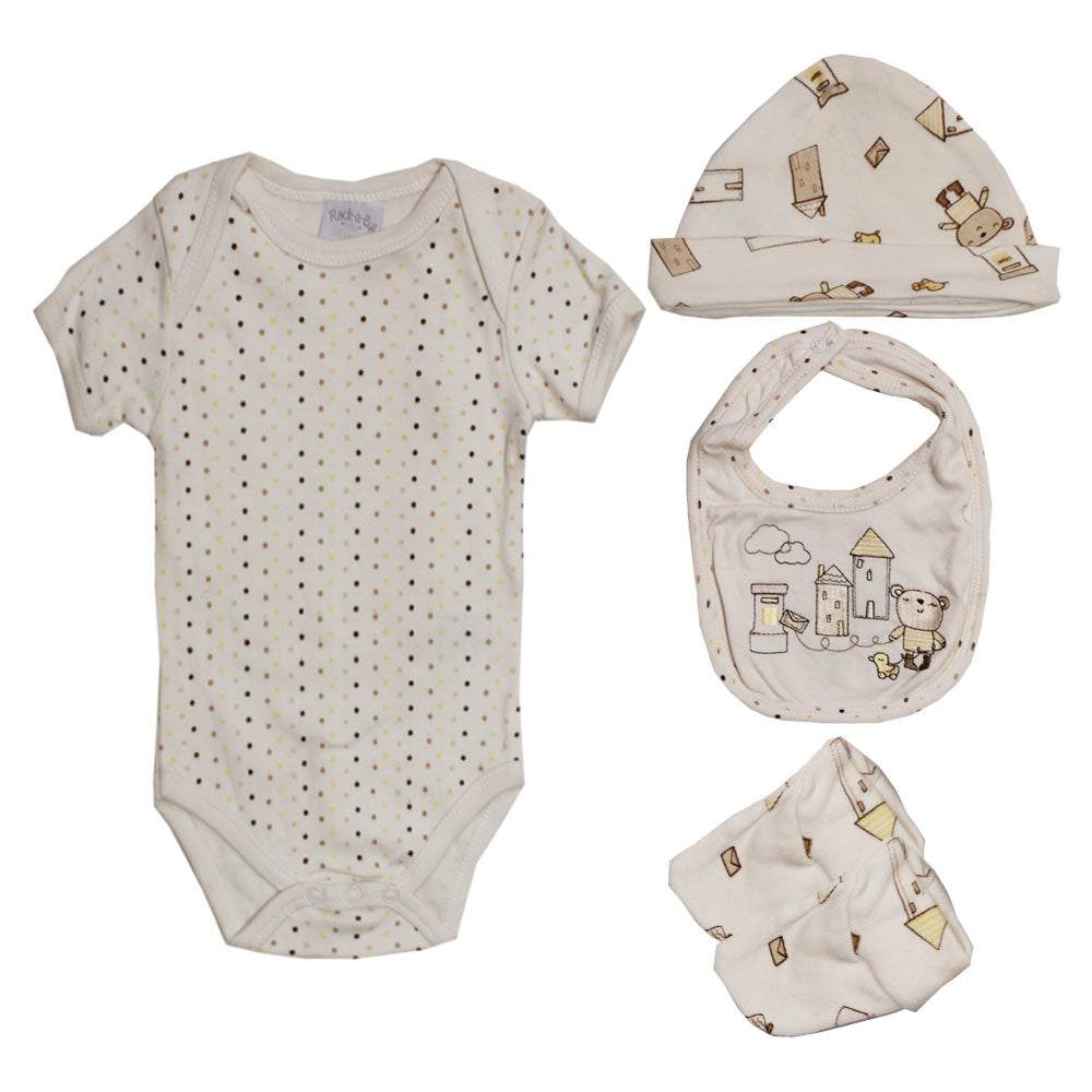 ROCK A BYE Dots  Print Cream Cotton Romper 4 Piece Set
