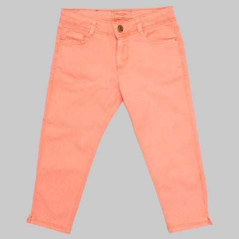 Pink Cotton Embroidered High Fashion Girls Jeans