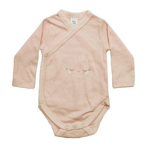 BABY CLUB  Cute Bunny Wrap Style Pink Cotton Romper
