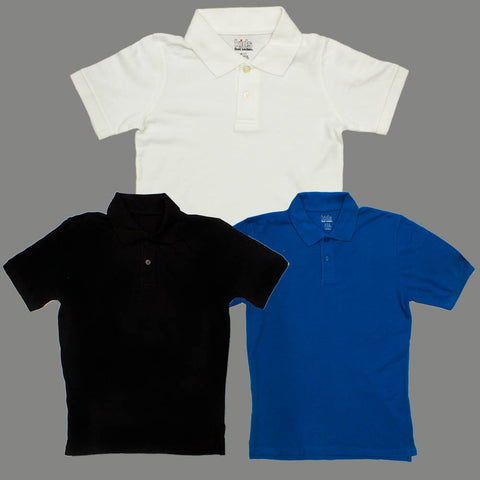 Foot Locker 3 Piece White black and Royal Blue Boys Solid Colour Pique Polo