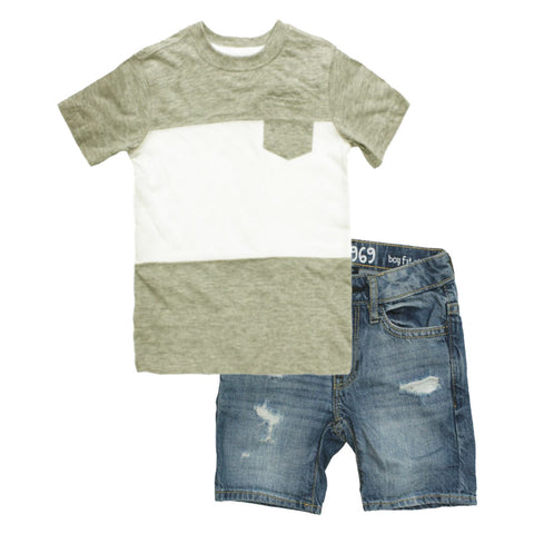 WALL MART Grey And White Boys 2 Piece Set