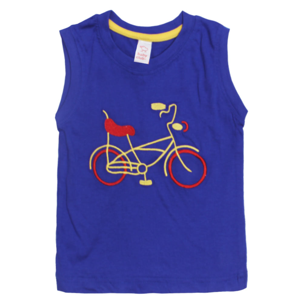 BABY CLUB Cycle Embroidery Blue Boys Premium Cotton Tank Top