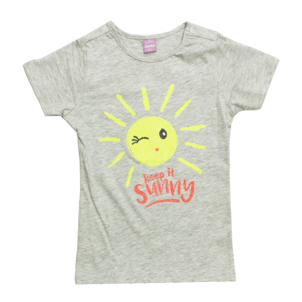 DOPO DOPO Keep It Sunny Glitter Print Premium Cotton Girls Tshirt