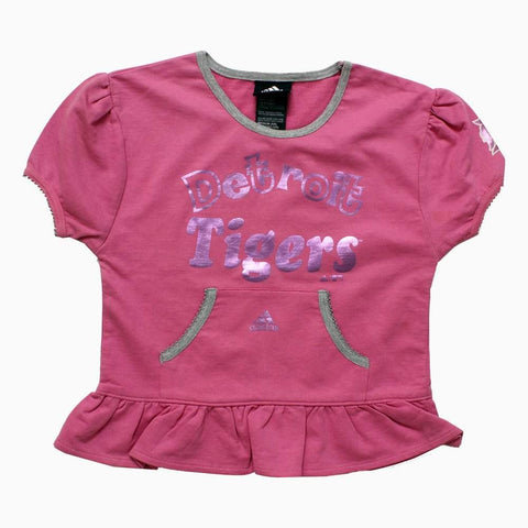 Adidas Detroit Tigers Foil Print baby Pink Girls Frill Tshirt