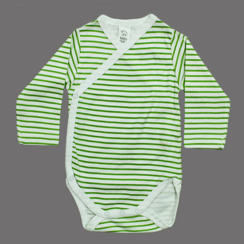 BABY CLUB White and Green Stripes Wrap Style Cotton Romper