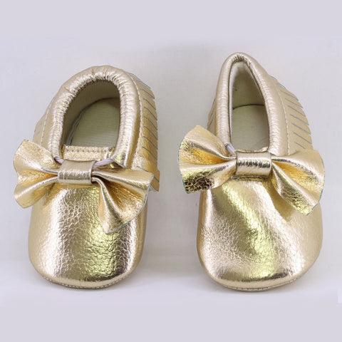 ROMIRUS Golden Baby Leather Soft Sole Tassel Pre Walker Moccassion Shoes