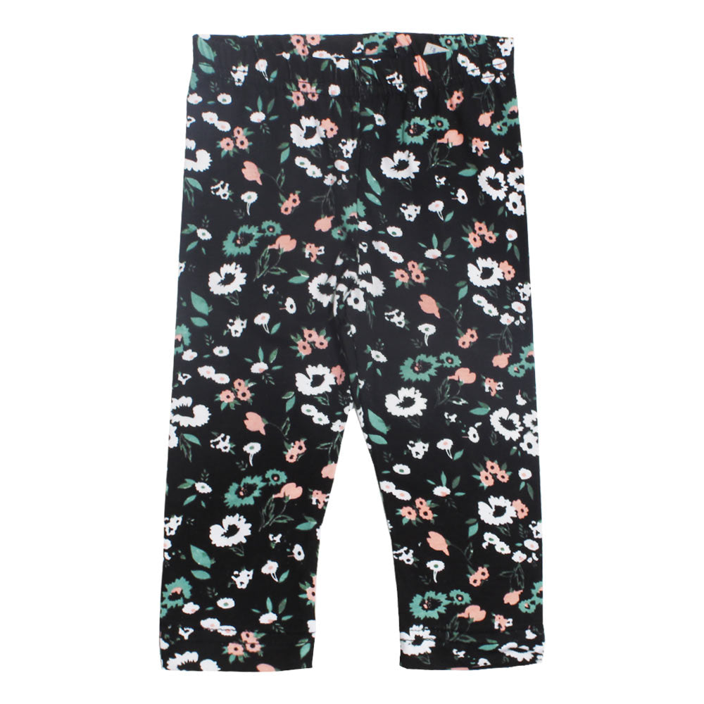 BLUE SEVEN Flower Print Black Girls Cotton Capri
