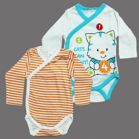 BABY CLUB Orange and White Mix Style 2 Piece Cotton Romper Set