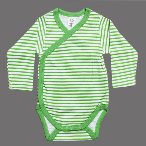 BABY CLUB Wrap Style Green and White Stripes Cotton Romper