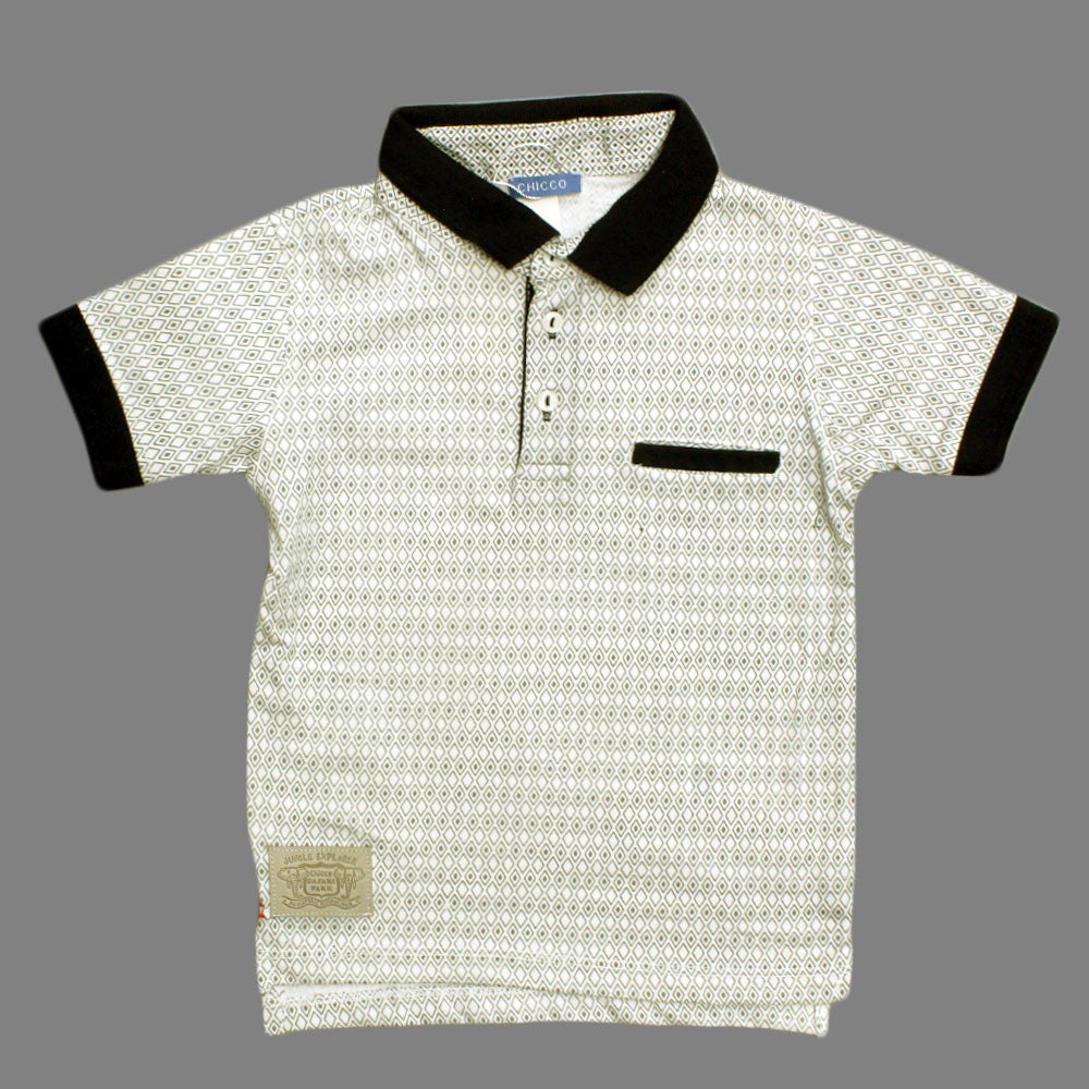 CHICOO All over Geometry Print Premium Cotton Polo