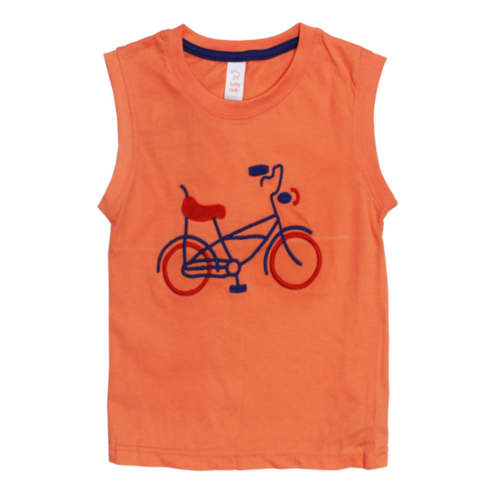 BABY CLUB Cycle Embroidery Light Orange Boys Premium Cotton Tank Top