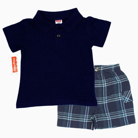 Fisher Price Navy Blue Polo 2 Piece Set