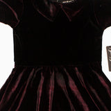 Gee Gee Girls Black and Maroon Checks Valvet Polyester Dress