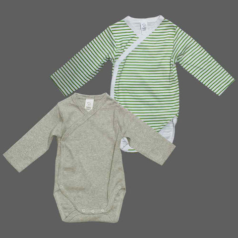 BABY CLUB Boys Wrap Green and Grey Stripes Cotton Romper 2 piece Set