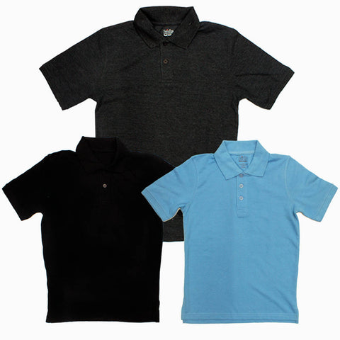 Foot Locker 3 Piece Black Grey light Blue Boys Solid Colour Pique Polo