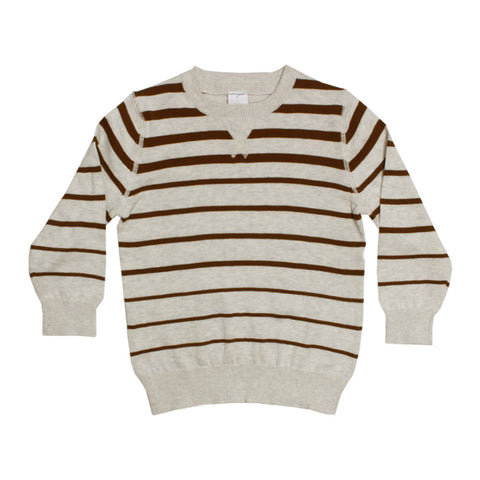 PALOMINO Brown Stripes Off White Boys Cotton Sweater