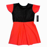 Gee Gee Orangish Pink Flower Imprint Girls Premium Dress