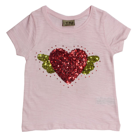 NEXT Sequins Heart Baby Pink Girls Premium Cotton Tshirt