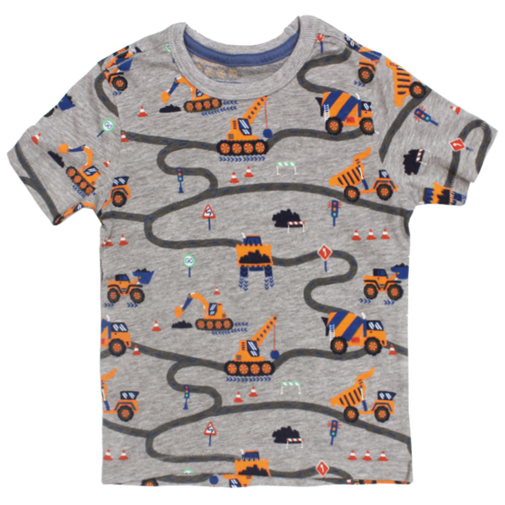 BLUE ZOO Construction Print Grey Boys Cotton Tshirt