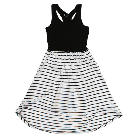 B COLLECTION Black And White Stripes Girls Premium Cotton Dress