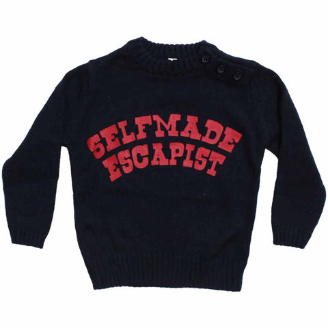 Self Made Escapist Boys Navy Blue Heavy Cotton Sweater