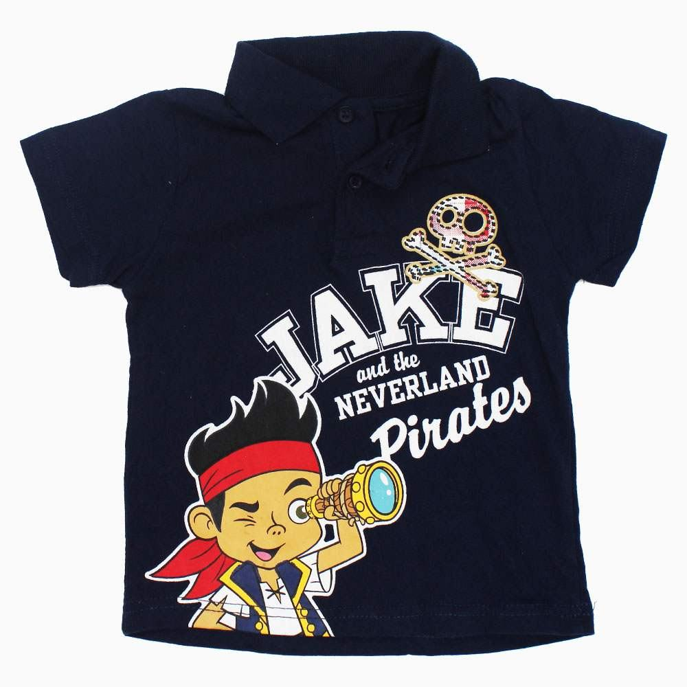JAKE and Pirates Navy Boys Cotton Jersey Polo