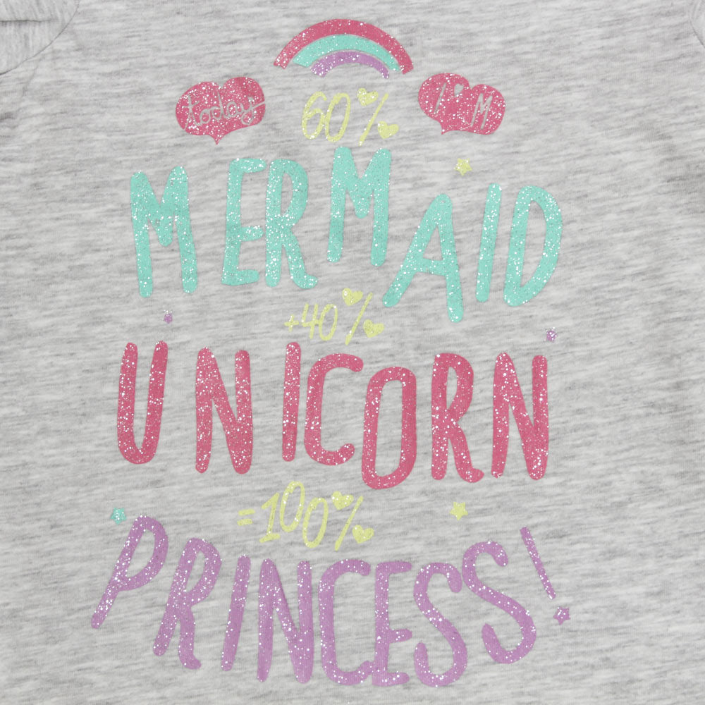 DOPO DOPO Unicorn Princess Grey Girls Premium Cotton Tshirt
