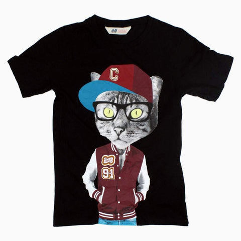 HnM Smart Cat Print boys Black Tshirt