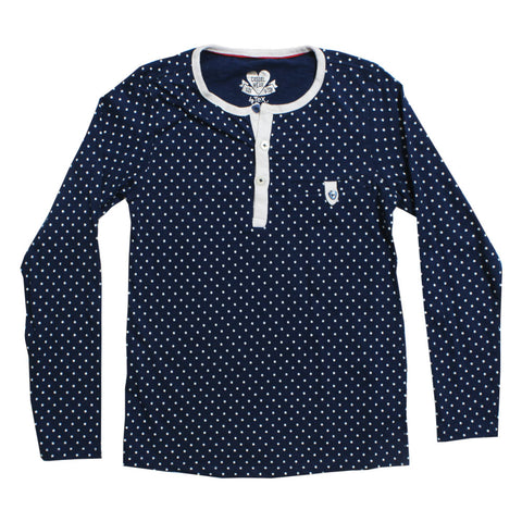 TEX Girls Blue Polka Dot Premium Cotton Henley Tshirt