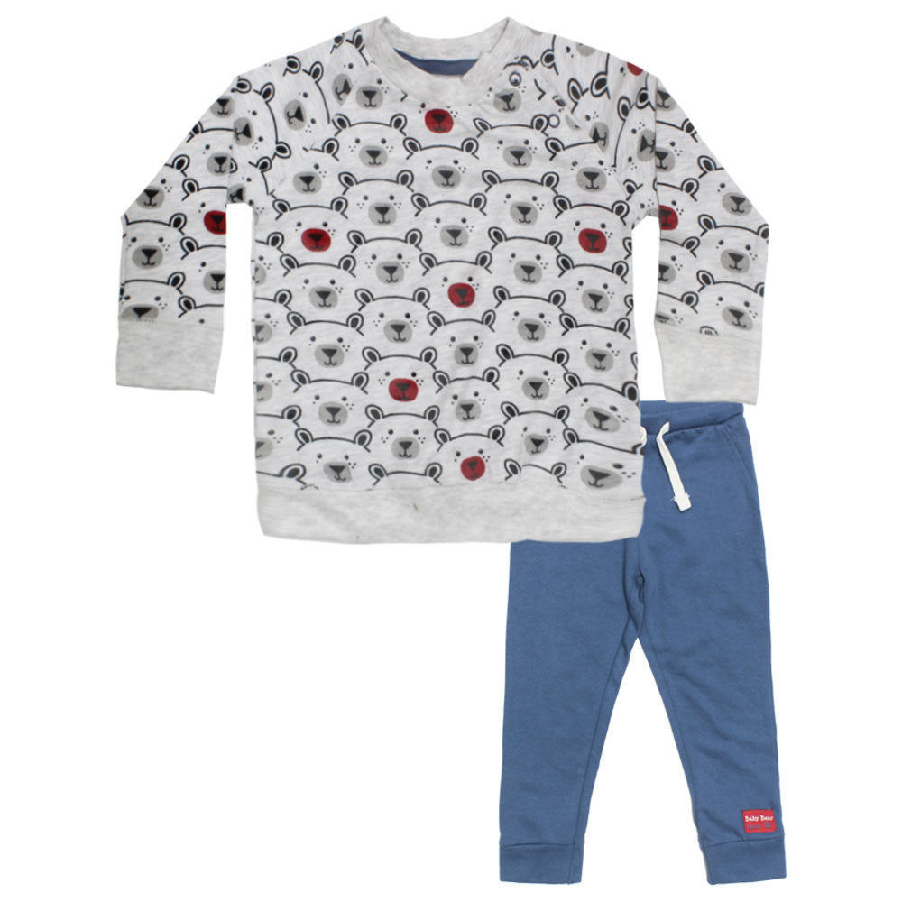 BABY BEAR All Over Bear Face Grey Boys 2 Piece Night Suit